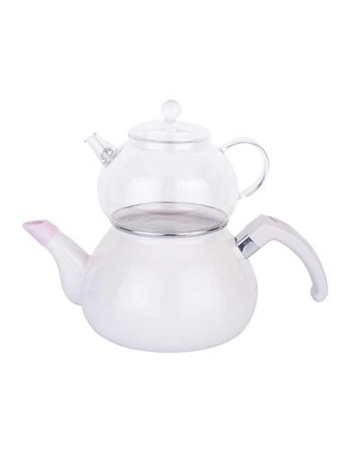 Pembe Emaye Çaydanlık Takımı-Tantitoni